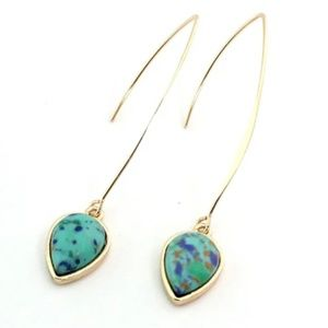 long gold Turquoise earrings